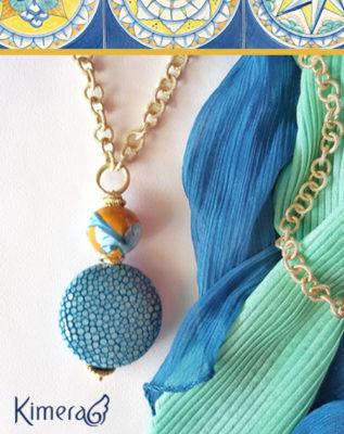 Collana CASTIGLIONE – I Colori della Costiera – Pelle di Razza, Ceramica della Costiera Amalfitana