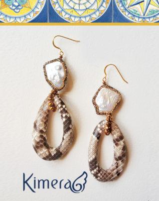 orecchini ganci Argento 925 perle swarovski pitone