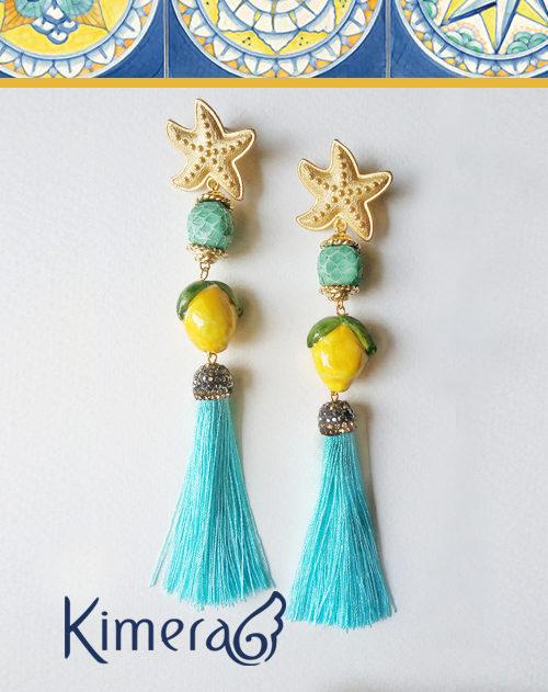 Orecchini ANACAPRI - I Colori della Costiera - Pelle di Pitone, Ceramica della Costiera Amalfitana