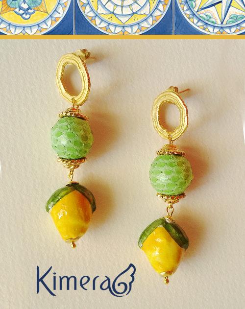 orecchini verdi pitone limoni ceramica