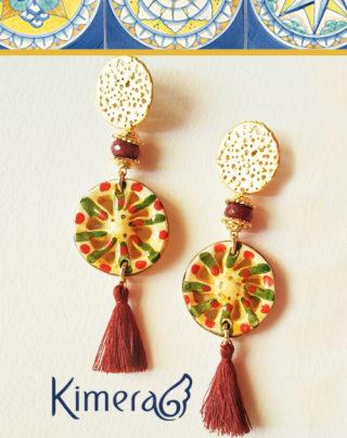 Orecchini con radice di Rubino e Ceramica dipinta a mano