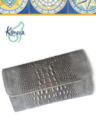 Pochette Tuscany in Pelle Scamosciata effetto Coccodrillo grigio perla