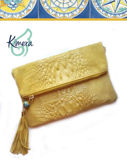 Bag Pochette in Pelle Scamosciata effetto Coccodrillo