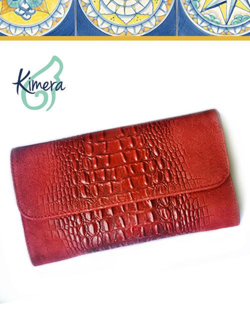 borsa pochette pelle scamosciata rossa bag
