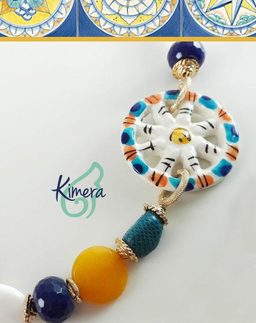 Collana in Ceramica dipinta a mano, Pelle di Razza, Lapislazzuli, Agata - Collezione Positano