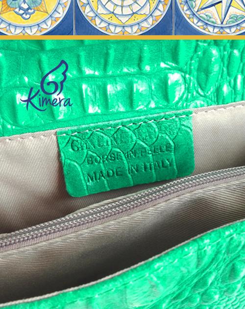 Pochette in Pelle Tiffany, Limone in Ceramica Vietrese - Collezione Capri