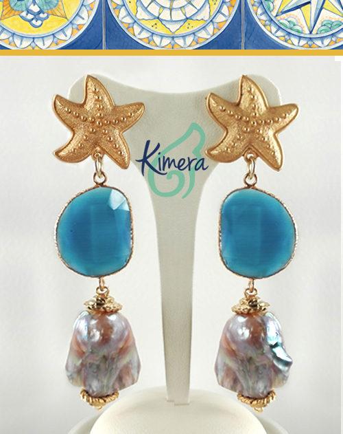 Orecchini Perle Scaramazze, Pietre dure Idrotermali - Collezione Sorrento