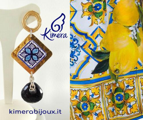 Orecchini Maiolica, Pietra di Sole Blu – Collezione Amalfi