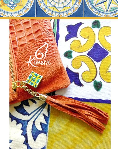 Bag in Pelle Scamosciata, Maiolica in Ceramica Vietrese - Collezione Positano