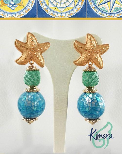 Orecchini in Madreperla Blue Tiffany e Pitone. Collezione Positano