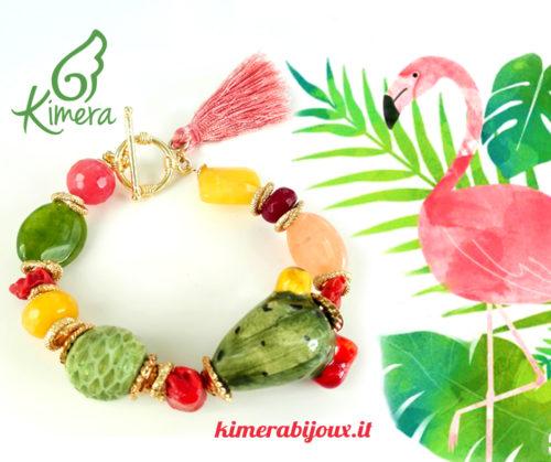 fenicottero rosa bracciale ceramica foglie verdi