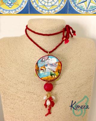 Collana Tamburello dipinto a mano, Coralli, Perle – Collezione Napoli