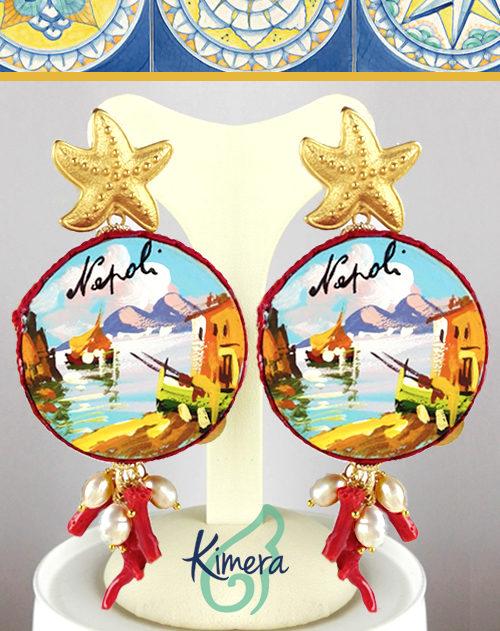 Orecchini Tamburelli dipinti a mano, Coralli, Perle – Collezione Napoli