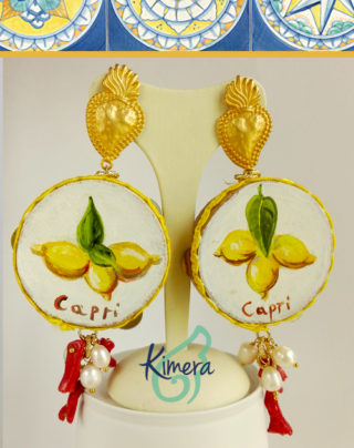 Orecchini Tamburelli XL Capri, dipinti a mano, Coralli – Collezione Napoli