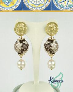 Orecchini in Pitone naturale e Perle – Basic Collection