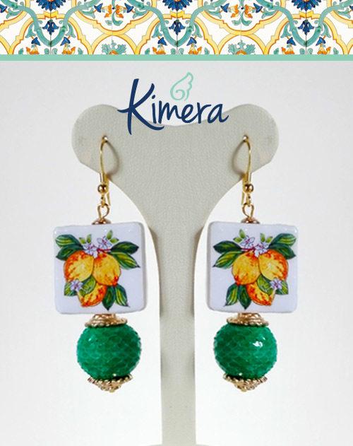 Orecchini Tiffany Maiolica Limoni e Zagara - Collezione Mediterranea