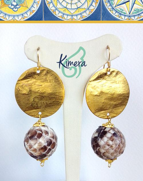 Orecchini in Pitone, elementi color Oro – Luxury Collection