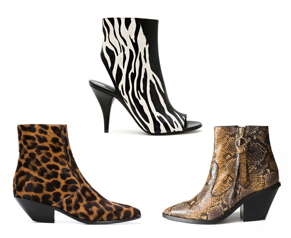 Stivaletti pitonati, leopardati e zebrati.