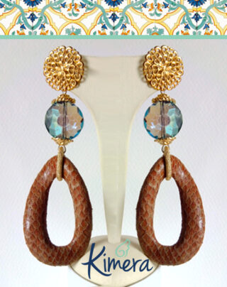 Orecchini lunghi in Pelle e Cristalli – Luxury Collection