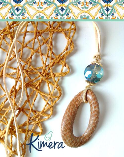 Collana in Pelle con Cristallo toni naturali – Luxury Collection