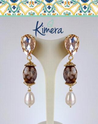 Orecchini in Cristallo, Diaspro e Perle - Luxury Collection