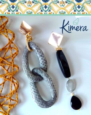 Orecchini lunghi neri in Pitone e Onice – Luxury Collection