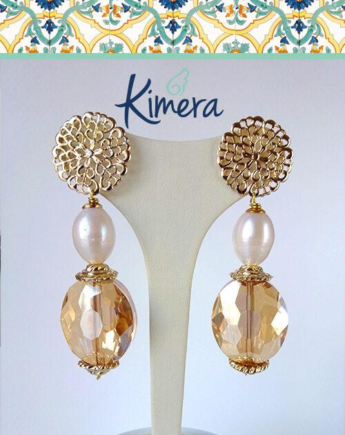 Orecchini Cristalli champagne, Perle di fiume – Luxury Collection