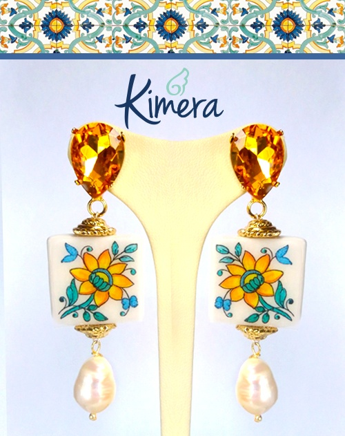 Orecchini Maiolica Santa Chiara, Cristalli, Perle – Collezione Mediterranea