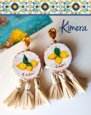 Orecchini Tamburelli XL Limoni Capri nappine – Collezione Tamburelli